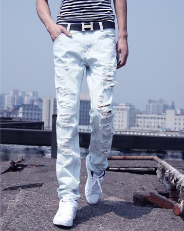 HOT! New Arrival Mens Jeans White Hole Jeans Beggar Style Jeans ...