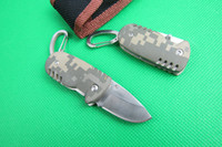 bay blade - Special offers Camouflage mini Pocket fold Knife EDC key knife HRC Cr15MOV Blade knife knives with nylon bay
