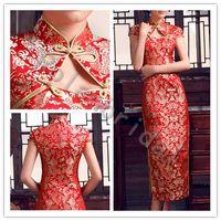 Wholesale super Sale Luxury and Elegant Chinese Cheongsam dresses tea length high neck wedding Dress Improved split side Red Short Sleeve Bridal gown
