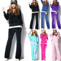 womens velour tracksuits - New Casual Womens Velour Hoodies Pants Sports Tracksuit Ladies Fit Size Set Color Asian size M L XL dx103