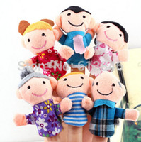 Cheap 6pcs lot Finger Plush Puppet Happy Family Story Telling Dolls Support Children Baby Educational Toys Free Shipping Wholesale