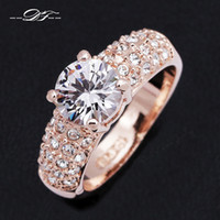 Cheap Wedding Ring AAA+CZ Diamond Crystal 18K Gold Plated Fashion Finger Rings Engagement Party Jewelry For Men and Women anel DFR105M