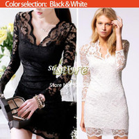 bags evening wear - 2015 New Autumn Women Sexy V neck low cut Long Sleeve Evening Party Lace Mini Bag Hip Dress Black White SV001069