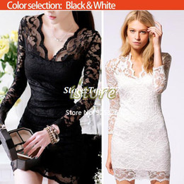 Wholesale 2014 New Autumn Women Sexy V neck low cut Long Sleeve Evening Party Lace Mini Bag Hip Dress Black White SV001069