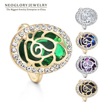 Cheap Neoglory 5 Color CZ Stone Zircon Alloy 14k Gold Plated Adjustable Rings for Female Fashion Rhinestone Charm Bands Jewellery 2014