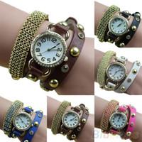 Cheap Women's Metal Golden Mesh Bracelet Rhinestone Faux Leather Band Quartz Wrist Watch 049J