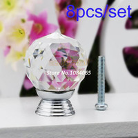 Cheap Hot Sale 8 Pcs Set Glass Crystal Cabinet Drawer Knob Kitchen Pull Handle Door Wardrobe Hardware 30mm White #6 TK0736