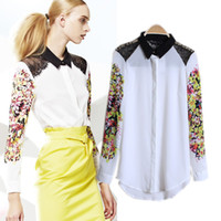 Cheap 2014 fashion women chiffon shirt blouse lace shoulder patchwork flower print sleeves top full size free shipping