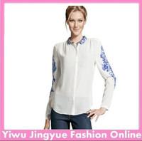 Cheap women chiffon shirt blouse Retro Long Sleeve Blue And White Porcelain Print Tops full size Free Shipping