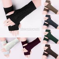 Wholesale 2014 New Fashion Women Ladies Winter Warm Knitted Acrylic Golves Fingerless Gloves Hand Wrist Warmer Mitten Color