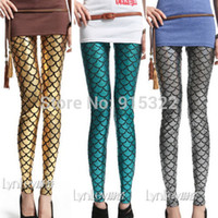 Cheap Free shipping Fashion Women Stretch Fish Scale Mermaid Printed Leggings Skinny Pants Tights