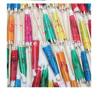 Wholesale Safe shipping Hotsale Multicolor Paper Tropical Hawaiian Cocktail Drink Parasol Umbrella
