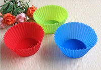 Wholesale Safe shipping Wholse Silicone Muffin Cases Cake Cupcake Liner Baking Mold Round shape