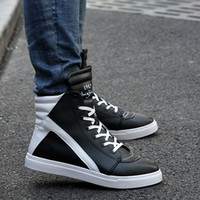Cheap Spring breathable male shoes male casual shoes british style increased men's white skateboarding shoes