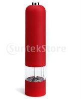 Wholesale Safe shipping Red Electric Pepper Mill Grinder Muller for salt sugar seed