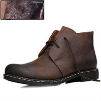 Wholesale hot new winter boots genuine cowhide Fashion Men s Leather Boots trend high top Personality Slip Resistant Winter Shoe