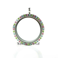 Cheap 1 Pcs Hard Stainless Steel Multicolor Rhinestone Round Glass Living Memory Locket Pendants 30mm Fits Origami Owl(W03978 X 1)