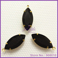 Wholesale 20PCS Jet Black Color Faceted Glass Navette Stones in Brass Loop Setting Charms Pendant x15mm x18mm