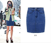 Cheap Free Shipping New Summer 2014 Fashion Casual Denim Mini Bust Skirt With Pockets Women High Waist Pencil Jeans Skirts A074