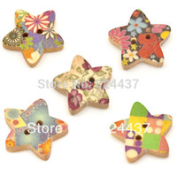Cheap Free shipping 100 Mixed Star Shape 2 Holes Wood Sewing Buttons Scrapbook 18x17mm Knopf Bouton Jewelry Findings (W01525 X 1)