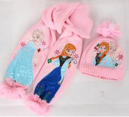 Wholesale FROZEN children scarf shawl Cartoon girl knitting kit scarf hat ELSA ANNA warm winter hat sets
