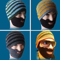 Blending winter hat - D52 Mustache Mask Face Warm Ski Winter Men Knitted Beard Hat Caps Gray Yellow Blue Orange Colors Beard