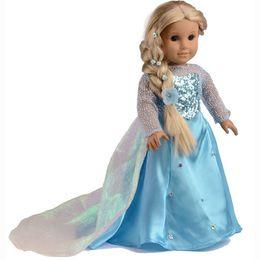 Wholesale Frozen Elas Sparkle Princess Dress Doll Clothes For quot American Girl Handmade