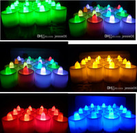 Wholesale LED wedding tealights electronic candle light party event Halloween flameless flickering battery candles plastic Home Décor colorful