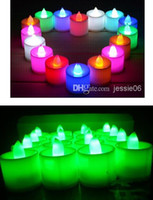 Wholesale LED wedding tealights electronic candle light party event Halloween flameless flickering battery candles plastic Home Décor colorful hotsell