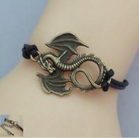 Charm Bracelets adjustable cord bracelet - Dragon Bracelet Charm Bracelet Antique Bronze Korean Wax Cords Adjustable Weave Bangle Personalized Jewelry