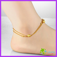 Cheap Famous Brand Womens Anklets 18k Gold Filled Feet Bracelet Dull Polish Lucky Beads Ankle Chain Leg Jewelry Bridal Gift
