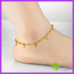 Vintage Womens Anklets 18k Gold Filled Foot Bracelet Heart Lucky Beads Expandable Ankle Chain Leg Jewelry Bridal Gift