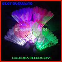 Wholesale pc colors LED Badminton LED Shuttlecocks Goose Feather Glow Birds Lighting for Night Playing Sports