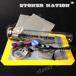 Wholesale 10 Inch BHO Glass Borosilicate Extractor Kit Butane Honey Oil Hash Wax Dab Dank Dabs Tube Extraction Silicone Container Dabber Jar Nonstick