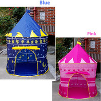 Wholesale Prince and Princess Palace Castle Playing Indoor Outdoor Toy Tent blue and pink colors Free FEDEX