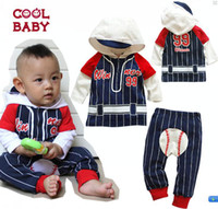 baby baseball outfits - Hot Sale Children s Outfits Baby Boys Baseball hooded long sleeved jacket striped trousers Baby leisure suit