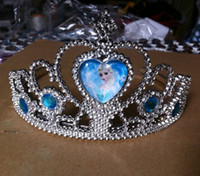 Wholesale Pre order Frozen Elsa Anna Children s Day Gift Crown Snow Queen Kids Birthday Present Hair Accessories Tiara Girl Cartoon Party Crowns H0984