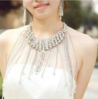 Cheap New Style Wedding Bridal Bridesmaid Party Dress Crystal Rhinestone Long Full Body Shoulder Chain Necklace Jewelry Tassel Collar Wrap Jacket