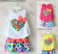 Cheap Cute Kids Clothes Girls Colorful Peach Bowknot Tank Top Tshirt + Chiffon Shorts Outfit Children Child Heart Bow Tee Pants 2pcs Set D2729