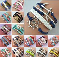 anchor friendship bracelet - 24 styles new Mix Infinity Anchor Rudder leather love charm handmade bracelet friendship bangles jewelry gift items Wrap bracelet