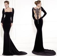 Cheap 2015 Spring Tarik Ediz Long Sleeve Black Velvet Square Neck Crystals Celebrity Dresses Illusion Back Zipper Red Carpet Dress Evening Gowns