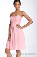 Cheap 2014 Fall Cheap Sexy Pink A Line Chiffon Short Cocktail Dresses Prom Party Homecoming Dress With Sweetheart Neck Ruched Custom Made SSJ N325