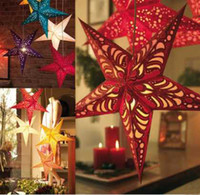Wholesale Christmas hanging decorations three dimensional laser hollow Christmas Star Golden Moon Star cardboard cm lampshade KTV ceiling decoration