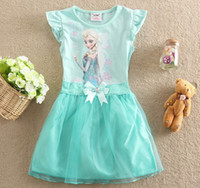 Summer Frozen Anna Elsa Children Girls Bowknot Tulle Party D...
