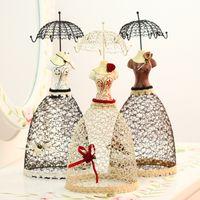 Wholesale Elegant iron Long dress umbrellas designed jewelry display holder rack