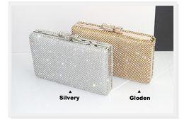Wholesale Vintage Wedding Bridal Party Ladies Fashion Silver Gold Crystal Rhinestone Swarovski Beaded Evening Clutch Bag Handbags Metal Hard Box Purse