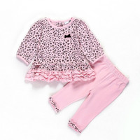 Wholesale 2014 Autumn Leopard Baby Gilrs suit Desses Pants Infant Leisure fashion clothing sets Baby wear Drop shipping