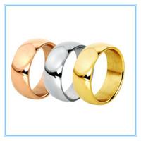 5.8 mm 3 colores anillo de dedo plateado oro de alta banda polaca de acero inoxidable 316L boda de los pares Anillos de compromiso para hombres de las mujeres