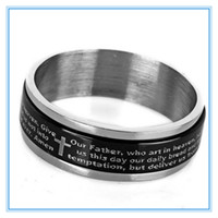 bible word - 2014 Seconds Kill Engish Words mm Unisex Plated Double Layer Rotating Religious Bible Ring Stainless Steel Father Prayer Rings