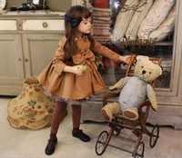 Wholesale Gilrs Autumn Winter Diamond Wind Coat Children Kids Clothing Long Sleeve Thick Bowknot Outwear Childs All Match Jacket Rose Khaki M1343